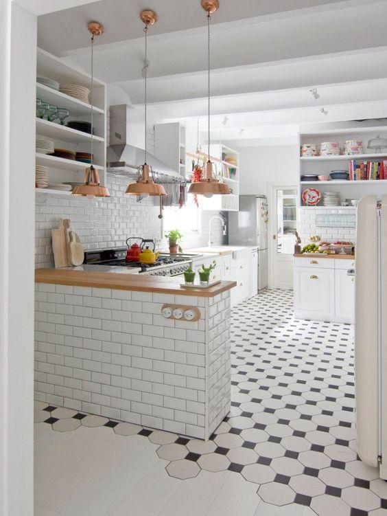 nhà bếp gạch lát nền