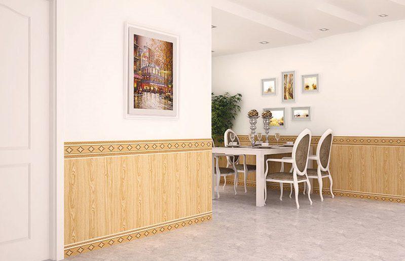 Hoạ tiết đối xứng của gạch ốp chân tường phù hợp với căn phòng cổ điển, sang trọng