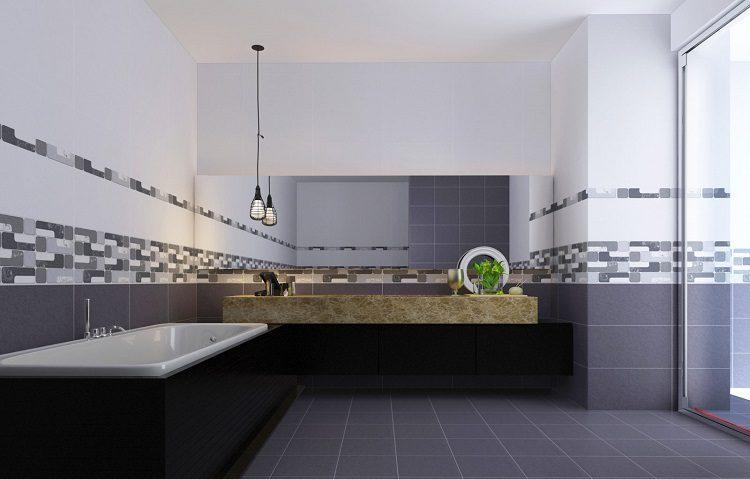 Hoạ tiết đơn giản của gạch ốp chân tường thích hợp với phong cách hiện đại