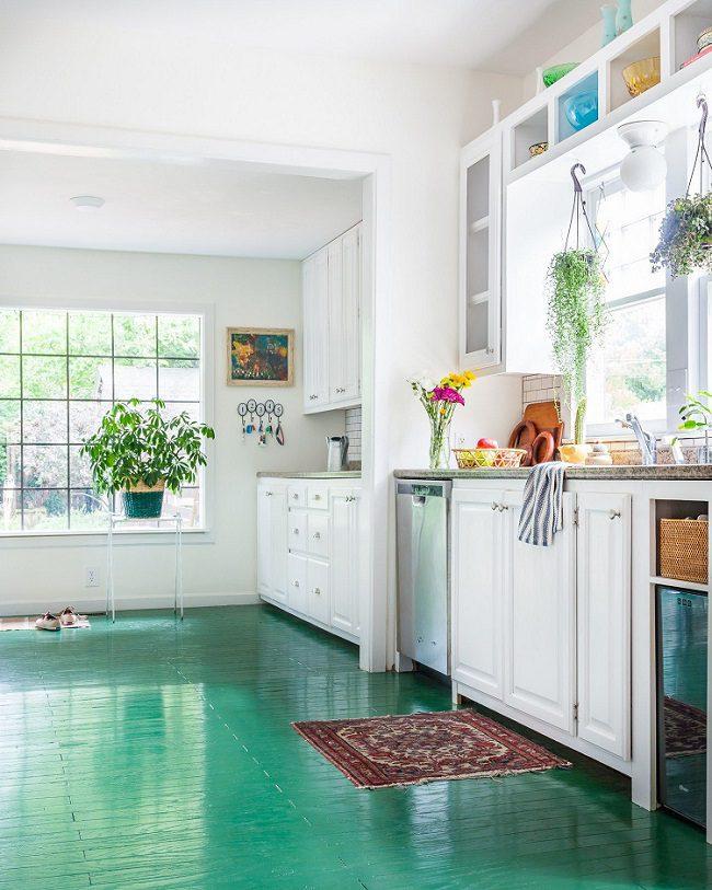 Kết quả hình ảnh cho gạch lát nền xanh phòng bếp