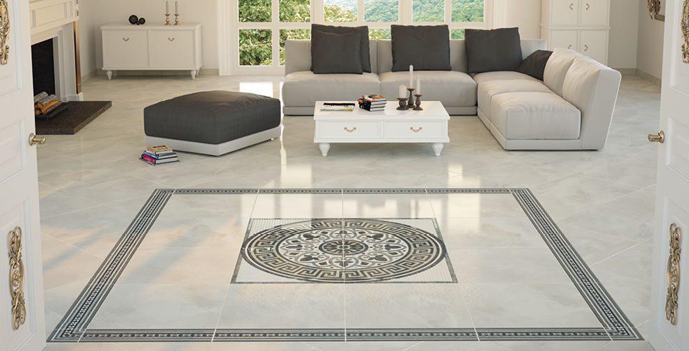Phối hoạ tiết lớn cho gạch granite tạo nên phòng khách độc đáo, ấn tượng
