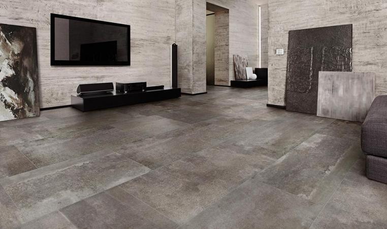 Gạch hình chữ nhật mang lại sự cân đối cho chiều rộng và chiều ngang của phòng khách