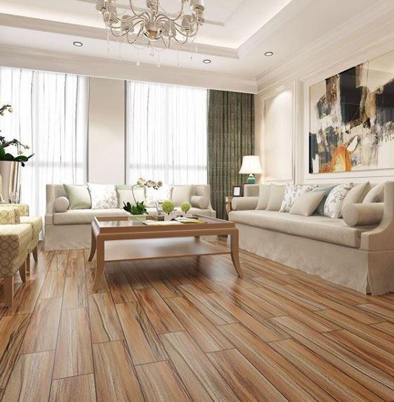Màu nâu đỏ với tông nổi bật sẽ làm điểm nhấn cho phòng khách có tường, trần nhà và nội thất màu trắng chủ đạo