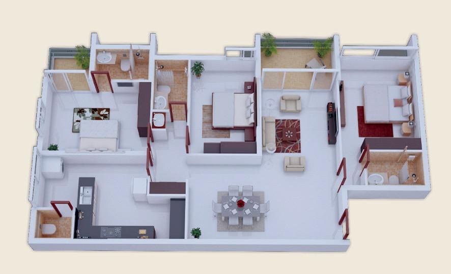 mau nha cap 4 3 phong ngu 25 - 99 mẫu nhà cấp 4 mái thái đẹp hiện đại, tinh tế (2020)