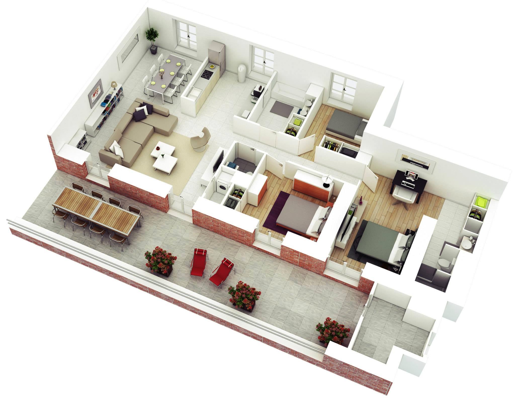 mau nha cap 4 3 phong ngu 27 - 99 mẫu nhà cấp 4 mái thái đẹp hiện đại, tinh tế (2020)