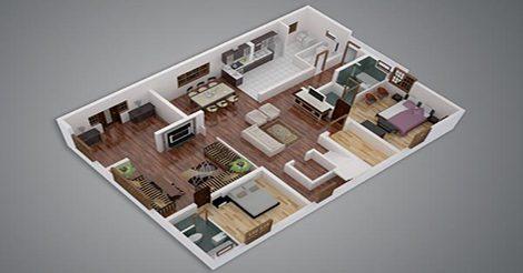 mau nha cap 4 co 2 phong ngu 2 1 - 17 mẫu nhà cấp 4 có 2 phòng ngủ đẹp, sang trọng, mở rộng không gian