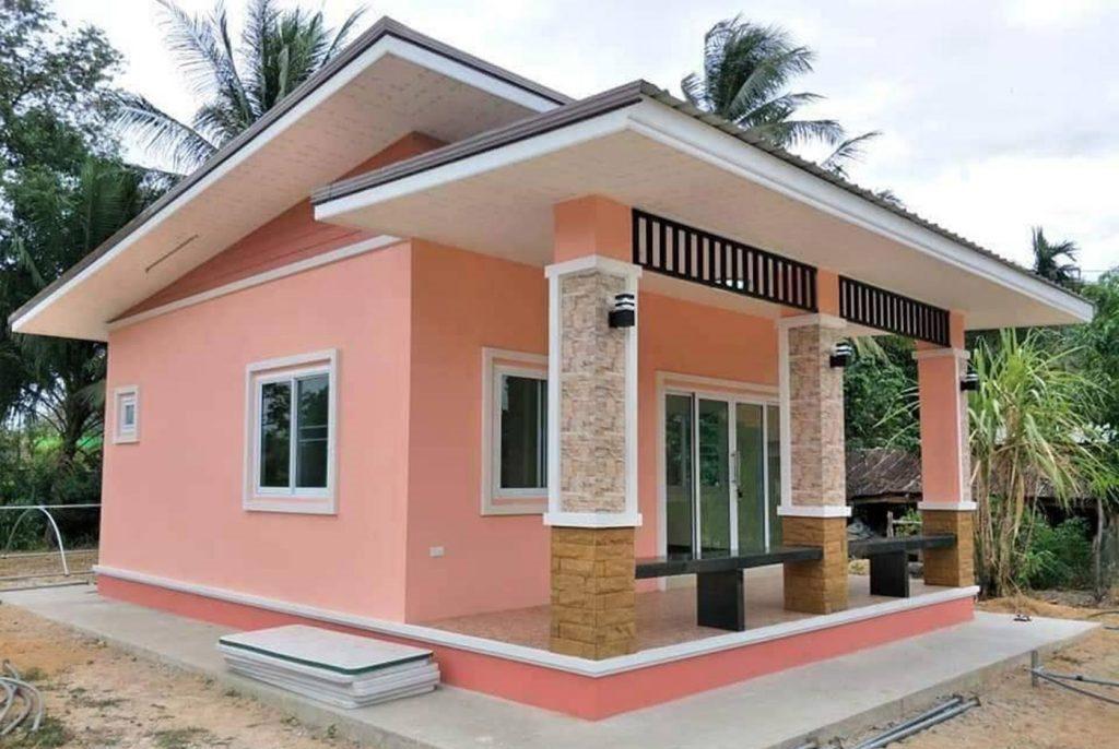 mau nha cap 4 nong thon mai lech 1 - 99 mẫu nhà cấp 4 mái thái đẹp hiện đại, tinh tế (2020)
