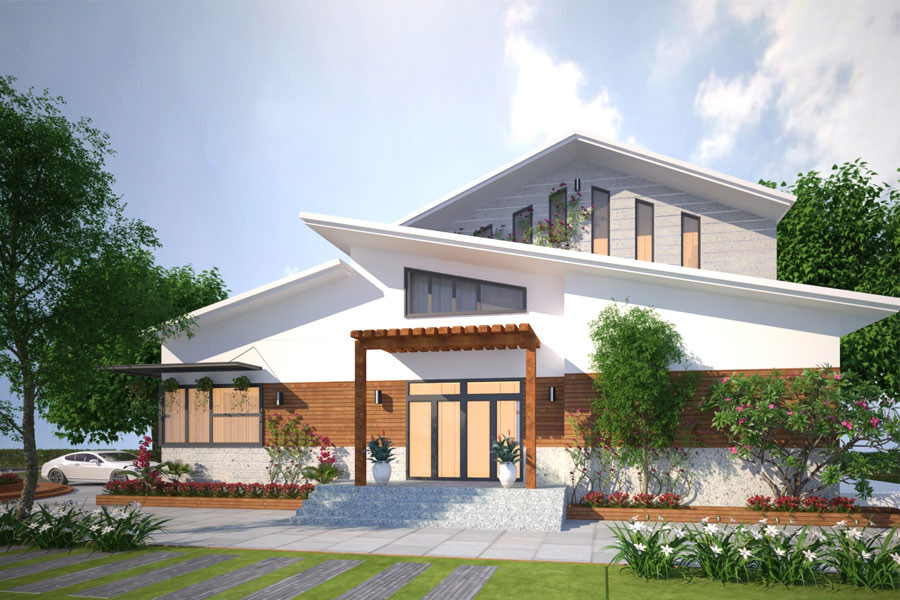 mau nha cap 4 nong thon mai lech 6 - 99 mẫu nhà cấp 4 mái thái đẹp hiện đại, tinh tế (2020)