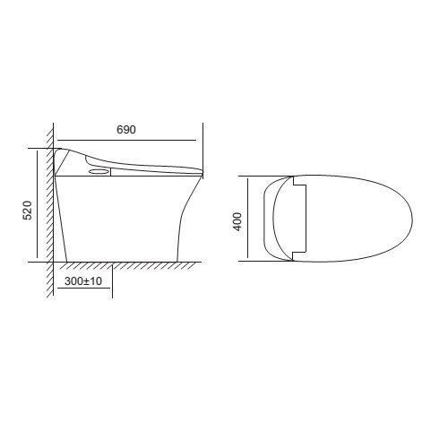 bv V93 - Bàn Cầu V-SMART VIGLACERA V93.RW - 220V (Thông Minh)