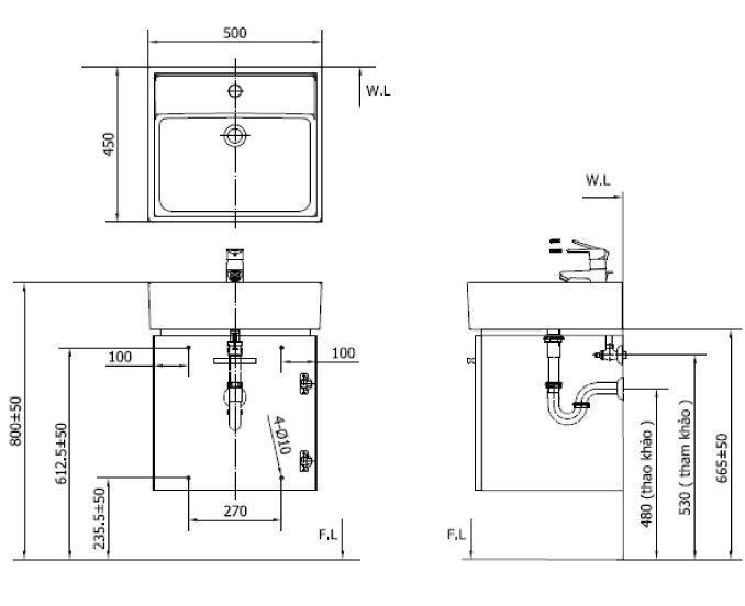 CB0504 4IF B banve - Bộ Tủ Chậu Lavabo INAX CB0504-5QF-B