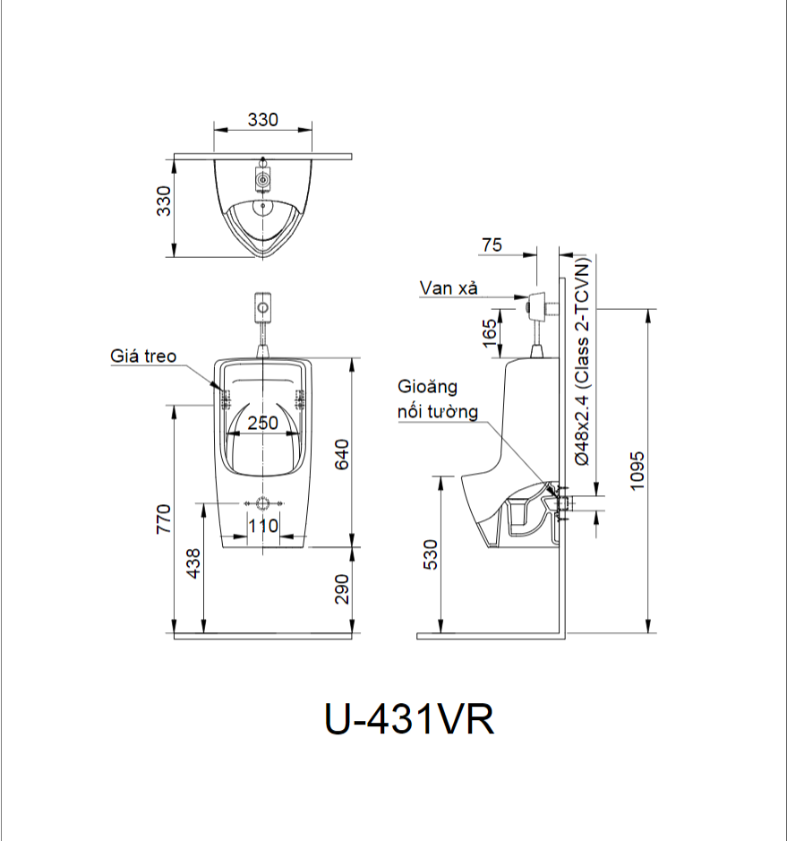 ban ve U 431VR - Bồn Tiểu Nam U-431VR