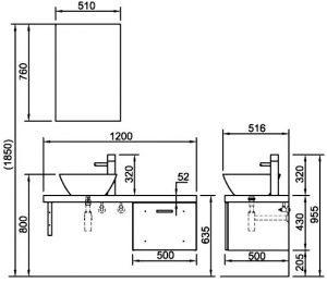 ban ve tu chau inax CB1206 5QF B - Bộ Tủ Chậu Lavabo INAX CB1206-4IF-B
