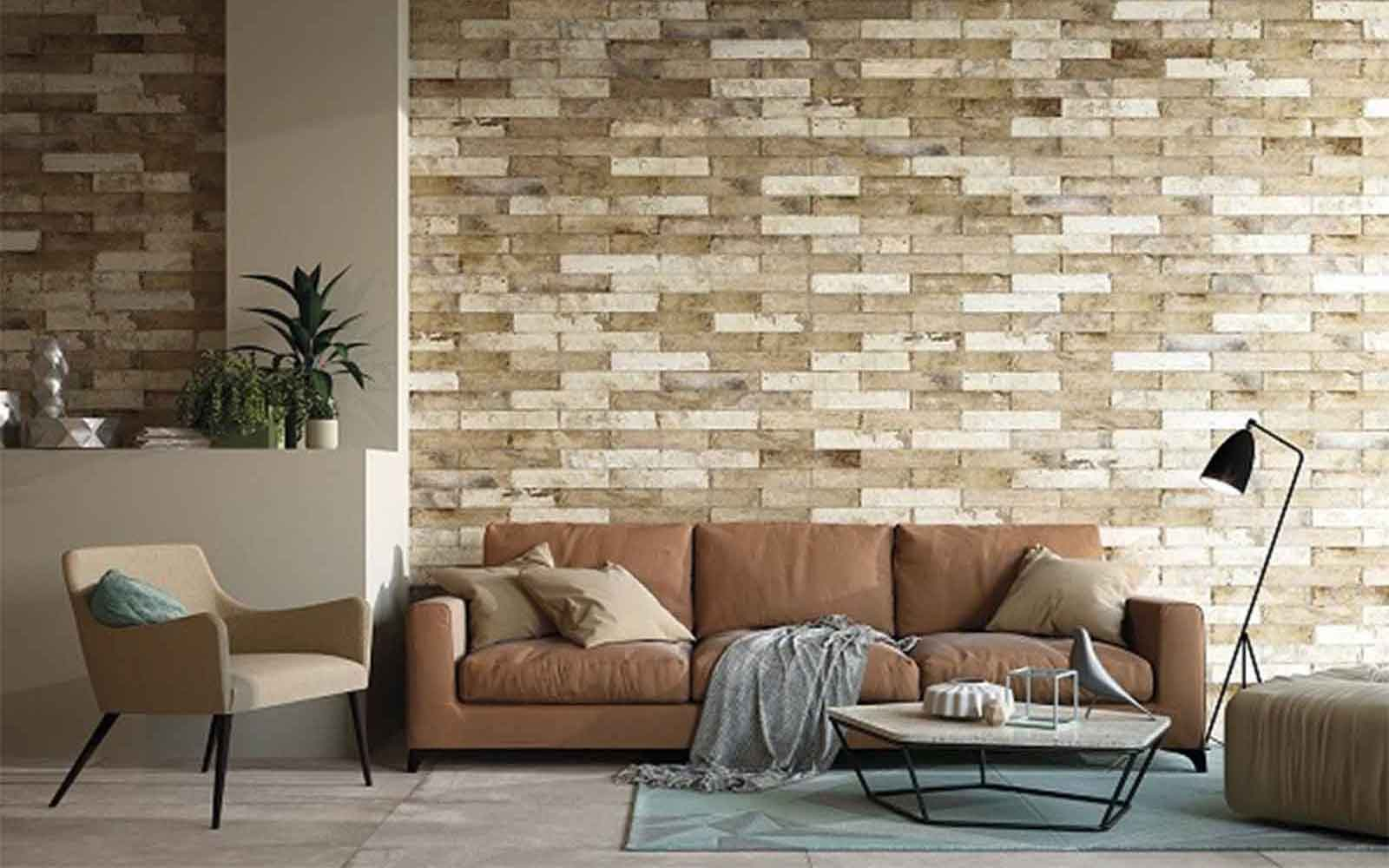 Gạch thẻ giả đá cổ trang trí tường phòng khách