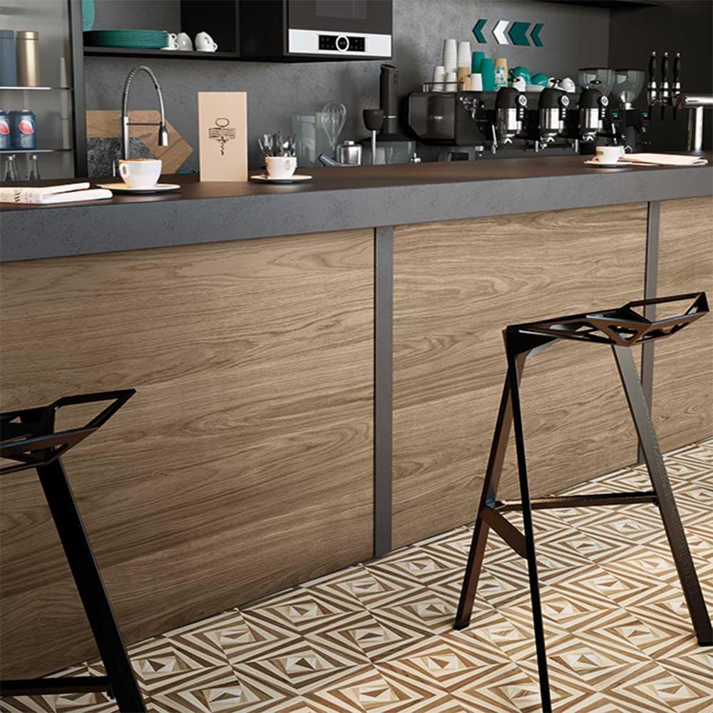 Kết hợp gạch giả gỗ và gạch 3D